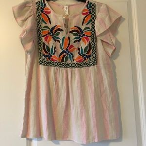 Floral colorful striped blouse